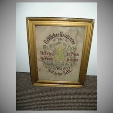 Old German Paper Punch House Blessing Faith Hope Charity Catholic Art
