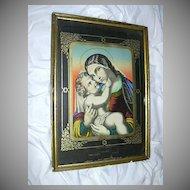 Rare Old German Madonna & Infant Jesus Print Ste Marie Auxiliatrice St Mary Help Us
