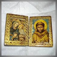 Miniature Italian Florentine Virgin Mary Madonna & Child Icon