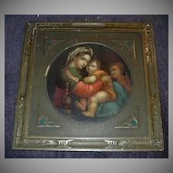 Virgin Mary & Infant Jesus, Madonna Fine Art Taber Prang Chromolithograph Print Arts & Crafts Frame Lovely  Religious Sacramental