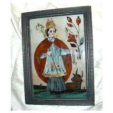 Old Reverse Painting On Glass Bavarian Religious Folk Art St Leonard, Cow