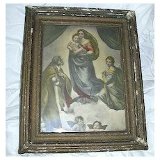 Sistine Madonna Old Print Framed Virgin Mary & Infant Jesus