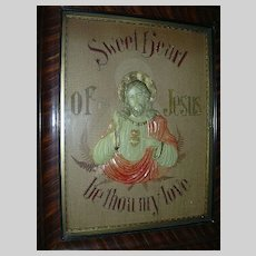 Sacred Heart Of Jesus Antique German Paper Punch Art