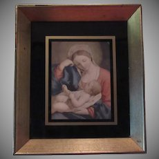 Virgin Mary Infant Jesus Print Gold Gilt Frame Black Glass Mat