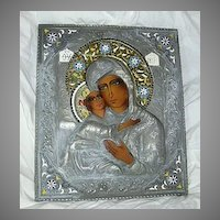 Large Orthodox Icon Virgin Mary With Metal Oklad & Enamel Halo