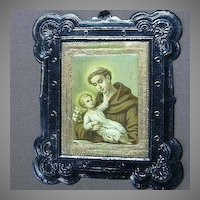 Religious Art St Anthony & Infant Jesus Embossed Print