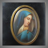 Virgin Mary Our Lady Of Sorrows Mater Dolorosa Antique Cameo Portrait  Hand Painted Porcelain Art