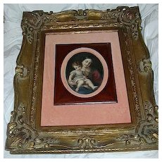 Madonna & Child Art Painting On Porcelain Ornate Framed Art