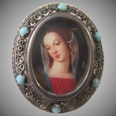Hand Painted Madonna Virgin Mary In 800 silver