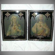 Jesus Sacred & Mary Immaculate Heart Art Deco Prints