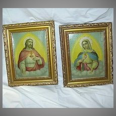 Pair Sacred & Immaculate Heart Prints Virgin Mary & Jesus Religious Art
