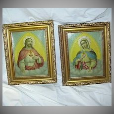 Pair Sacred & Immaculate Heart Prints Virgin Mary & Jesus