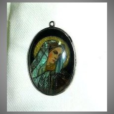 Virgin Mary Madonna  Sterling  Butterfly Wing Miniature Portrait Religious Art