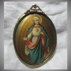 Old Celluloid Art Miniature Virgin Mary Original Metal Frame