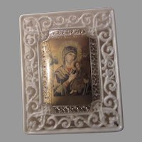 Virgin Mary Our Lady of Perpetual Help Icon Art Print in Plastic Display