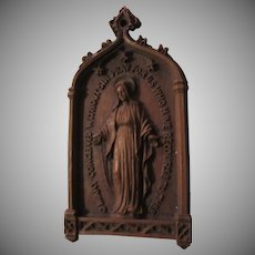 Virgin Mary Miraculous Medal Wall Icon Miniature Art Plaque