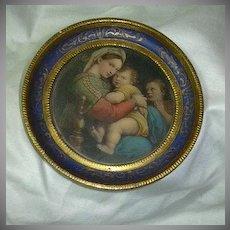 Old Florentine Miniature Raphael Madonna Print Religious Art