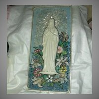 Jeweled & Mosaic Madonna Virgin Mary Plaque