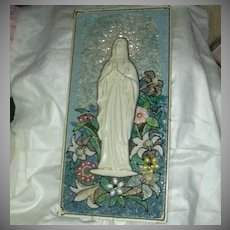 Jeweled & Mosaic Madonna Virgin Mary Plaque