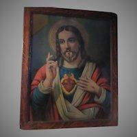 Jesus Sacred Heart Old Print Tiger Oak Frame Religious Art
