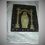 St Nicholas Orthodox Icon textile Needlework Stump Work Religious Art