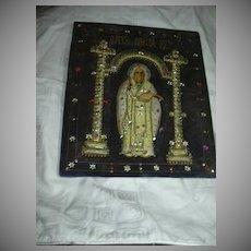 St Nicholas Orthodox Icon textile Needlework Stump Work Religious Art