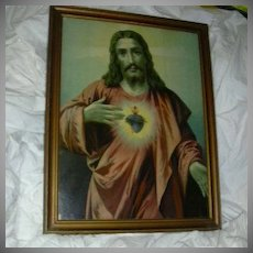Jesus Sacred Heart Old Print Framed Art