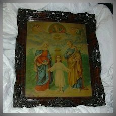 Old Holy Family Framed Religious Print Fine Carved Frame