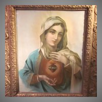 Virgin Mary Immaculate Heart Old Framed Print Ornate Frame
