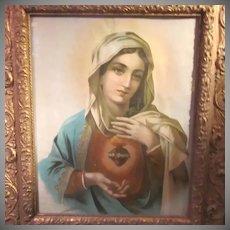 Virgin Mary Immaculate Heart Old Framed Print Ornate Frame