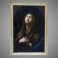 19th C Original Painting  Mary Magdalene Religious Fine Art