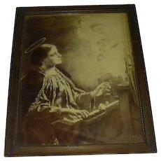 Saint Cecelia Old Signed Print Great Frame