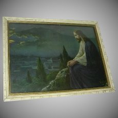 Jesus On Mountain Gethsemane Old Print