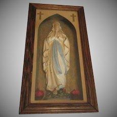 Virgin Mary Our Lady Lourdes Sorrows Shadowbox Statue