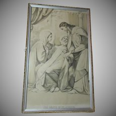 Religions Print The Death Of St Joseph With Virgin Mary Old Art