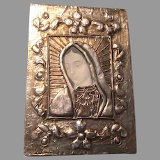 Virgin Mary Art Icon Silver Metal