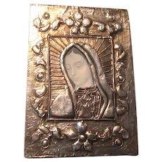 Virgin Mary Art Icon Silver Metal