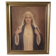 Bosseron Chambers Immaculate Heart of Mary  Virgin Mary Old Print