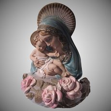 Virgin Mary Infant Jesus Madonna Child Wall Desk Lighted Statue Dated Signed