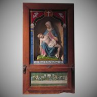 Old Viaticum Wall Altar Box Statue Pieta Hand Painted Glass Catholic Sacramental