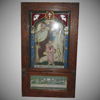 Old Catholic Religious Viaticum Home Altar Holy Family Statue