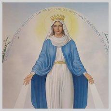 Virgin Mary Miraculous Medal Old Print