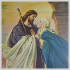 Christ Taking Leave of His Mother Old Print Jesus & Virgin Mary