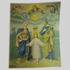 Jesus Virgin Mary Holy Family Old Print Holy Spirit God