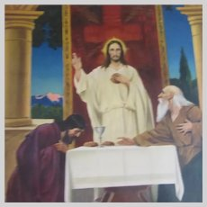 Old Jesus In Temple Print Blessing Bread