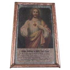 Jesus Sacred Heart Old Print Foil Frame Original Labels