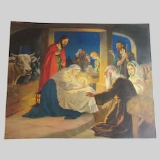 Old Large Nativity Scene Print Jesus Mary Joseph Birth of Christ