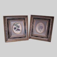 Pair Black Carved and Gold Gilt Frames With Floral Prints