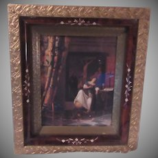 Religious Print Woman Praying To Crucifix In Fine Gold Gilt and Black Carved Old Frame