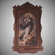 Assumption Annunciation Virgin Mary Old Print Original Carved Frame